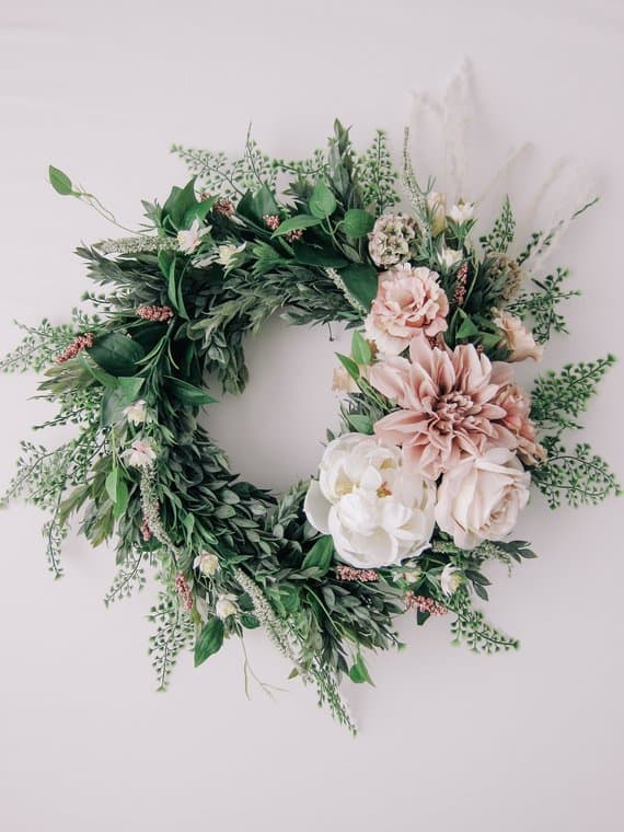 Greenery Wreath with blush and white flowers