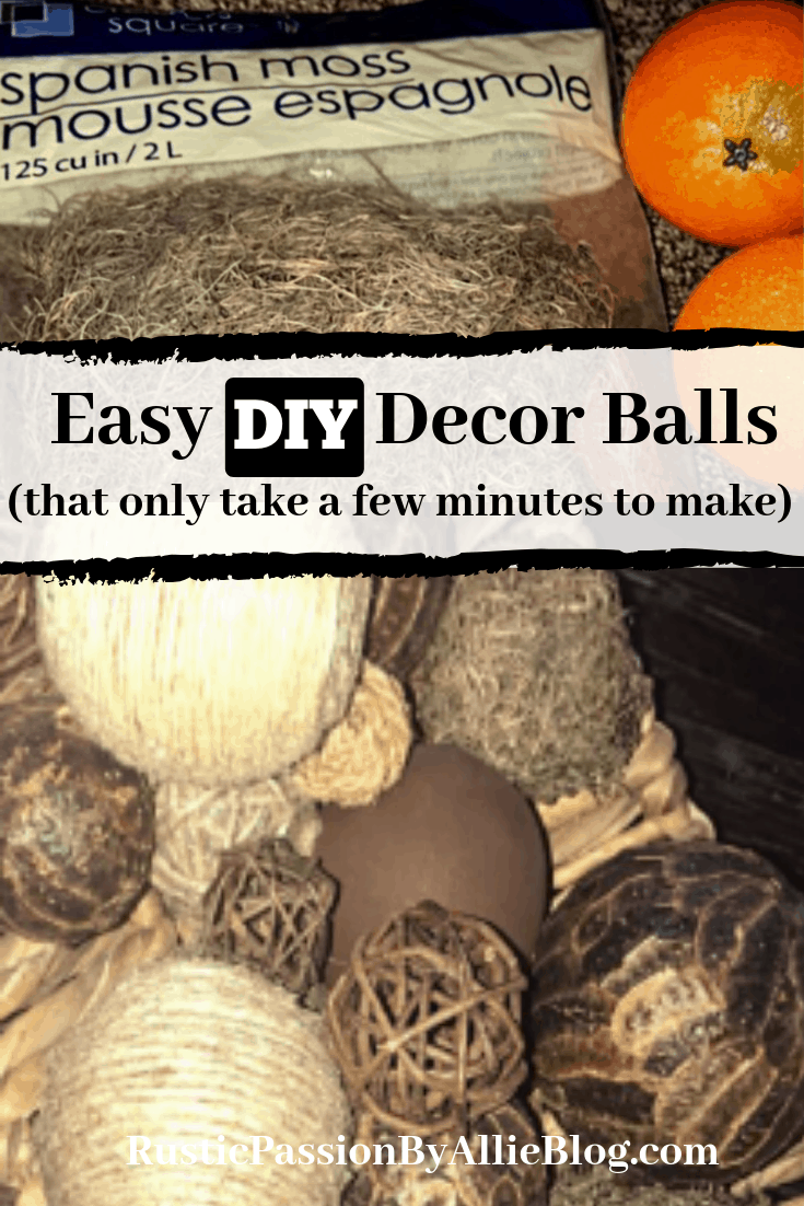 Learn how to make these DIY dollar store decor balls. They are the cutest rustic centerpiece. If you love DIY moss balls and diy orbs look no further.