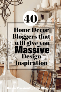Vintage dining room with brown antique shelf with white dishes on all shelves text overlay 40 home decor bloggers that will give you massive design inspiration.