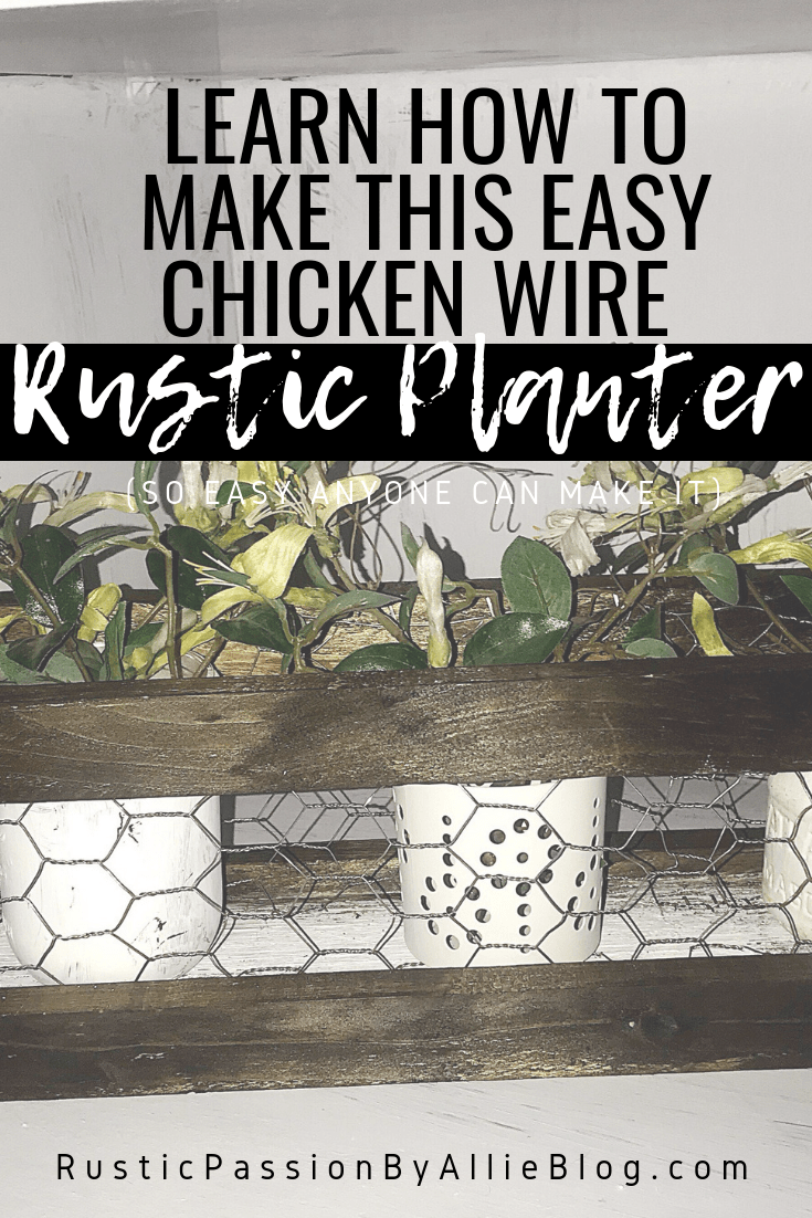 DIY wood planter with chicken wire front and back with text learn how to make this easy chicken wire rustic planter