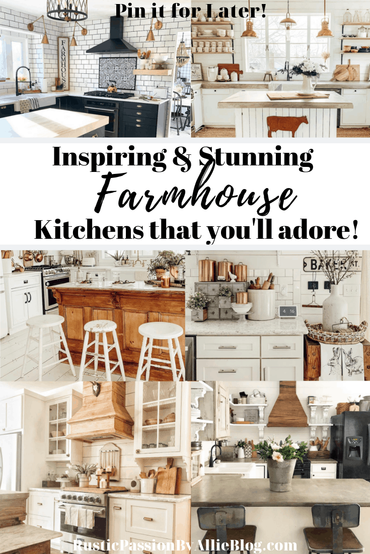 6 white farmhouse kitchens with - text overlay inspiring and stunning farmhouse kitchens that you'll adore.