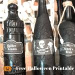 Wine bottles painted black diy halloween potion bottles with text overlay - diy potion bottles for $3 + free halloween printable