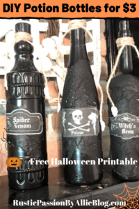 Wine bottles painted black diy halloween potion bottles with text overlay - diy potion bottles for $3 + free halloween printable