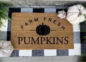 farm fresh pumpkins fall door mat