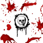 red splattered blood with skull free halloween printable
