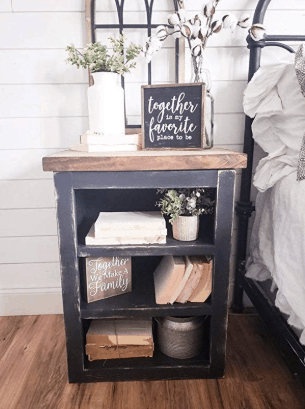 rustic wooden nightstand